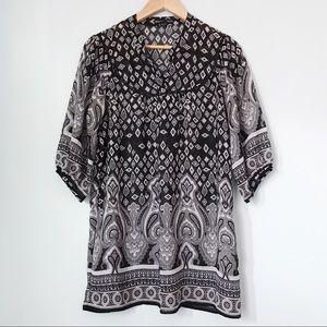 Black and white chiffon tunic blouse